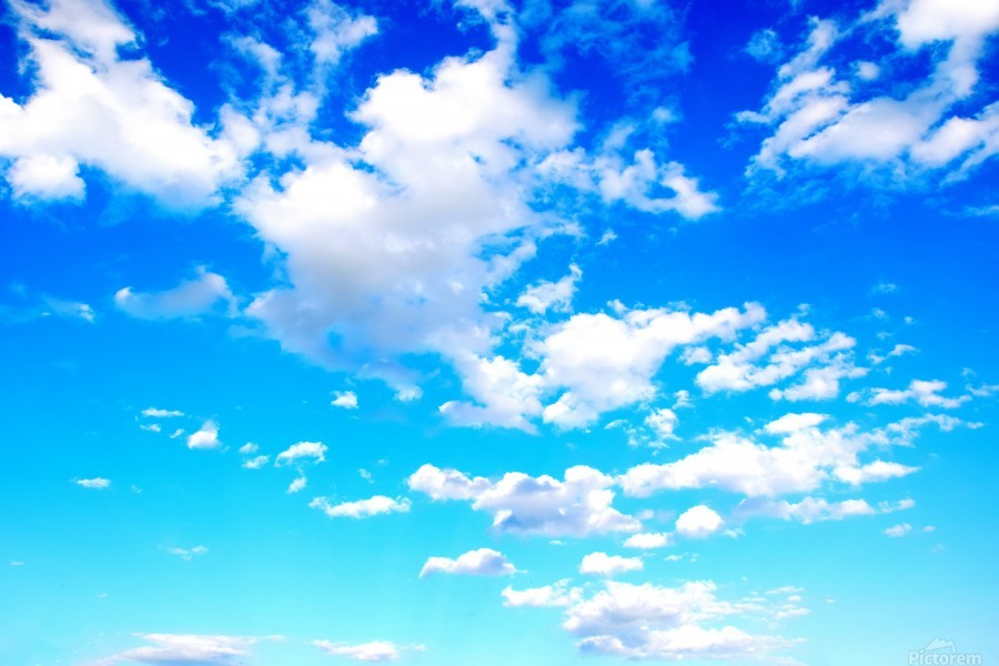 Bright Sky Blue with Clouds Colorful Scenic Background  Print