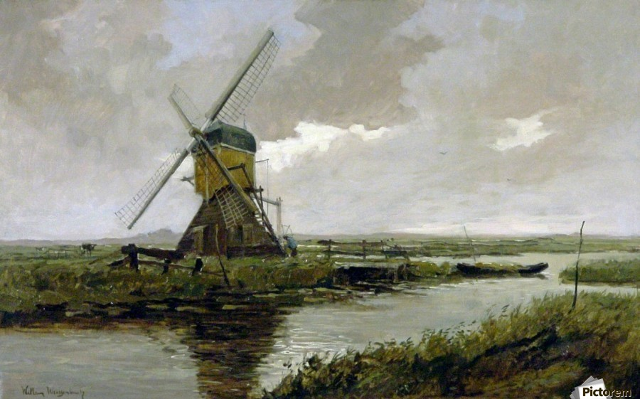 Landscape with a mill  Print