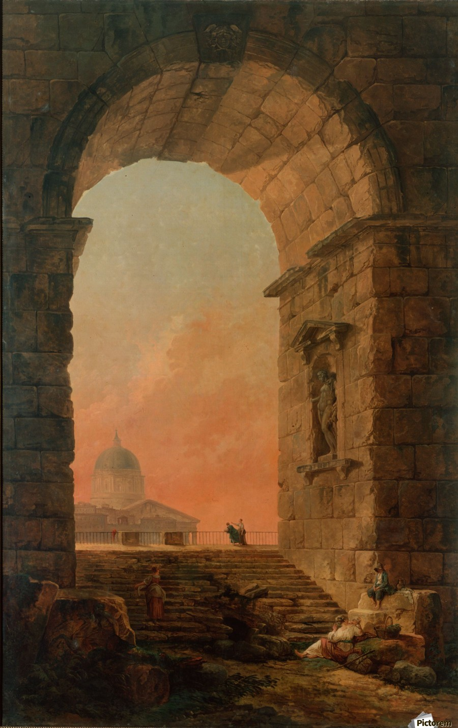 Landscape with an Arch and The Dome of Saint Peter Church in Rome  Print