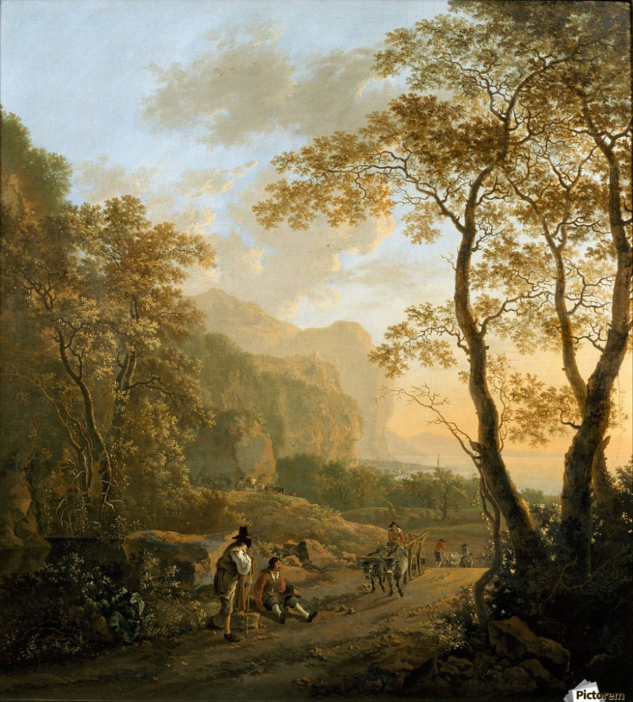 Landscape with resting travellers and oxcart  Print