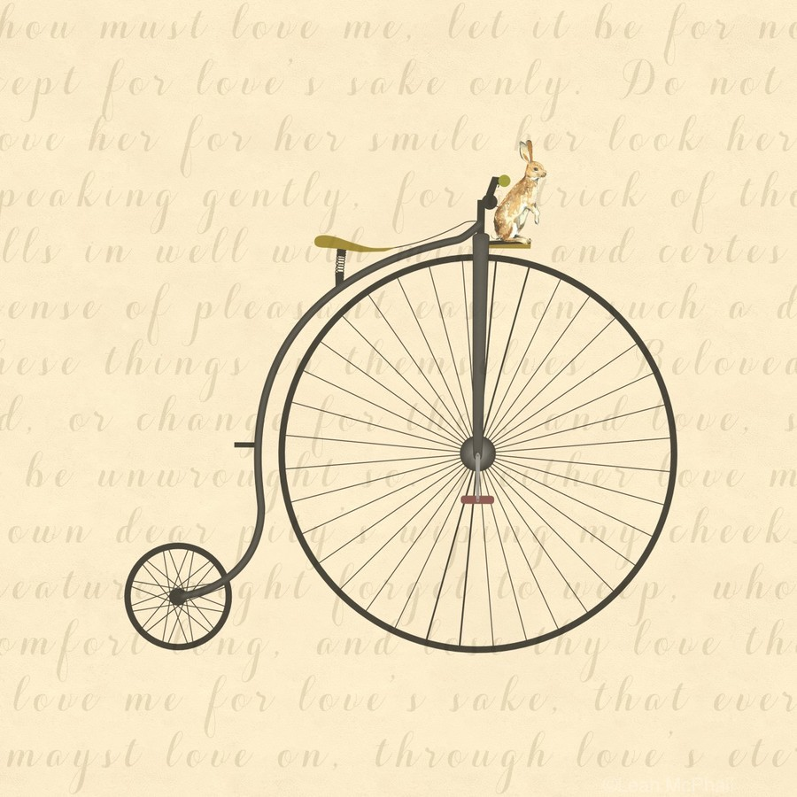 Vintage Penny Farthing Bunny  Print