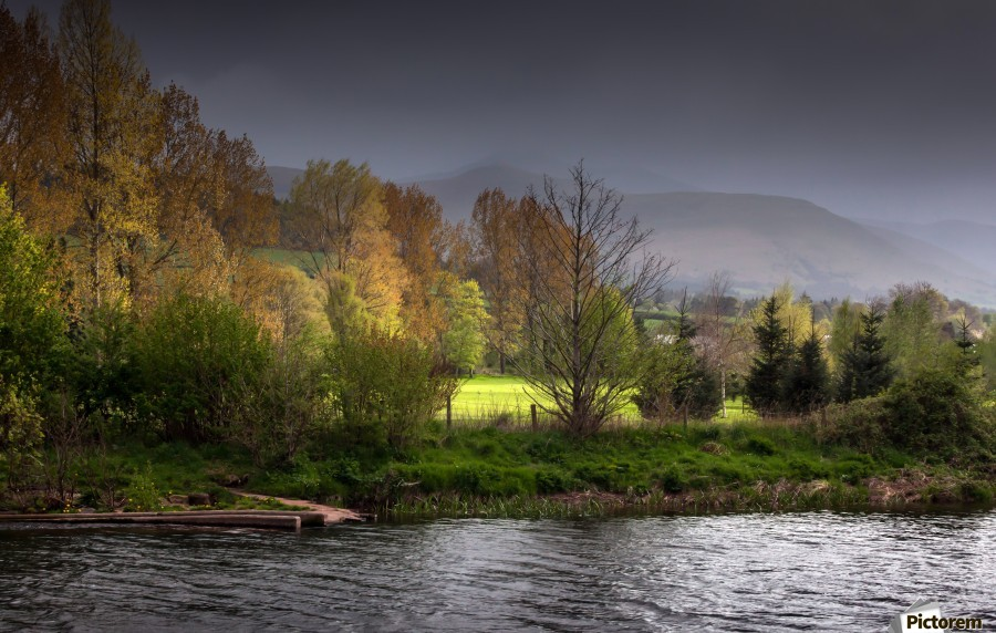 Brecon Beacons and river Usk  Print