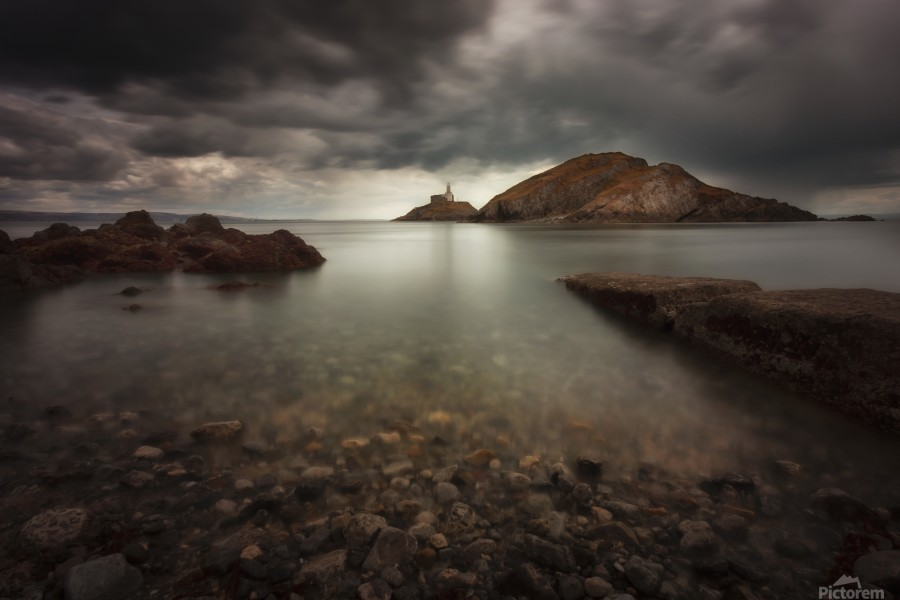 Rough weather over Mumbles lighthouse  Print