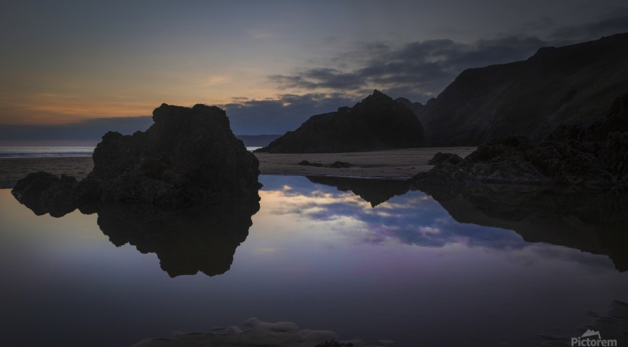 Rockpool reflections at sunset  Print