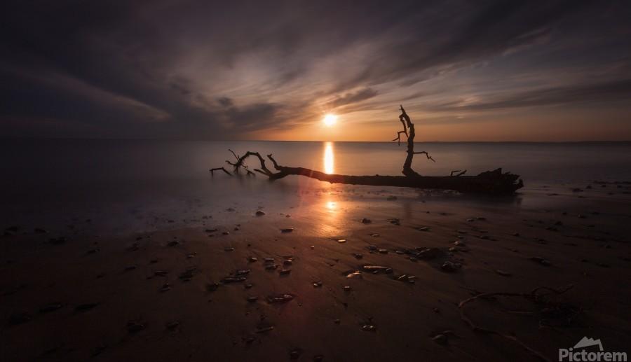 Sunset on Sker Beach  Print