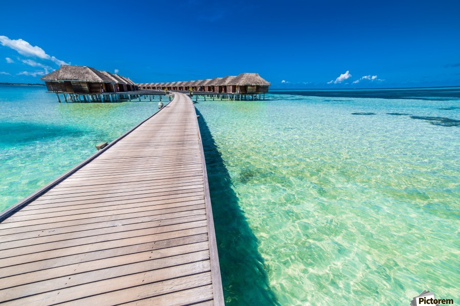 View Of Water Bungalow In Tropical Island Maldives