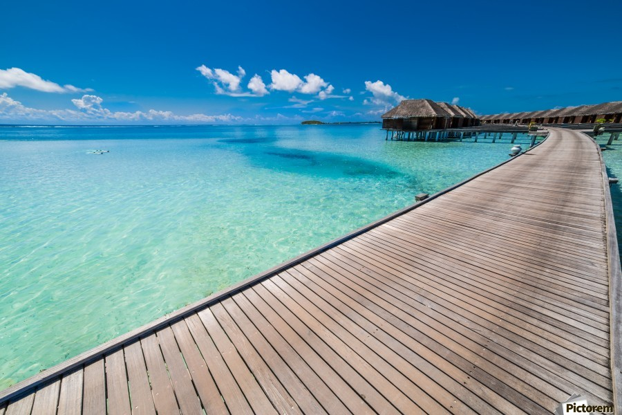 View of water bungalow in tropical island, Maldives, Indian ocean  Print