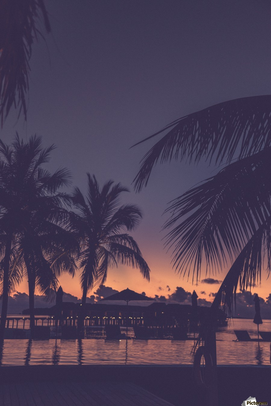 Palm trees silhouette on sunset tropical beach  Print