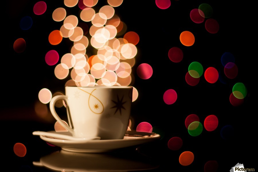 Christmas background with cup of tea  Print