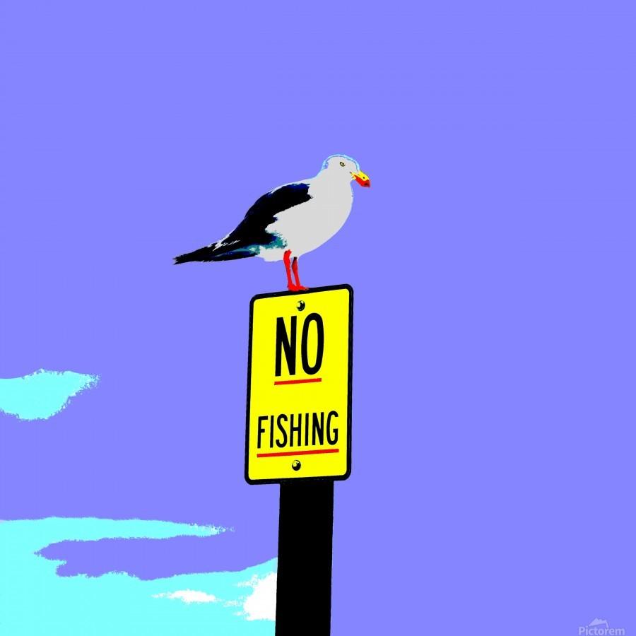 NO Fishing - Blue  Print