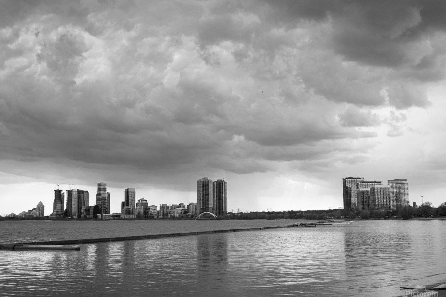 City at Ontario Lake B&W  Print