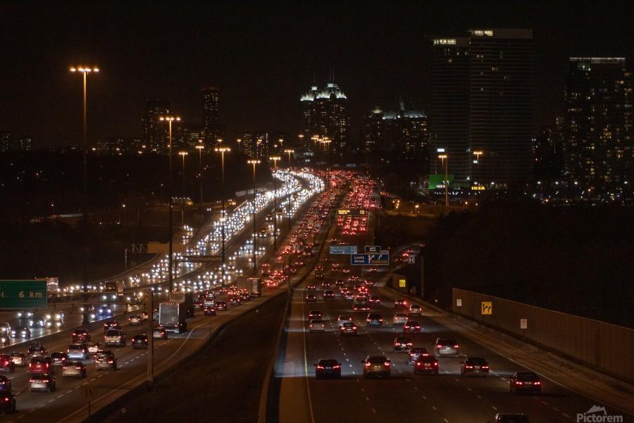 Busy road at night  Print