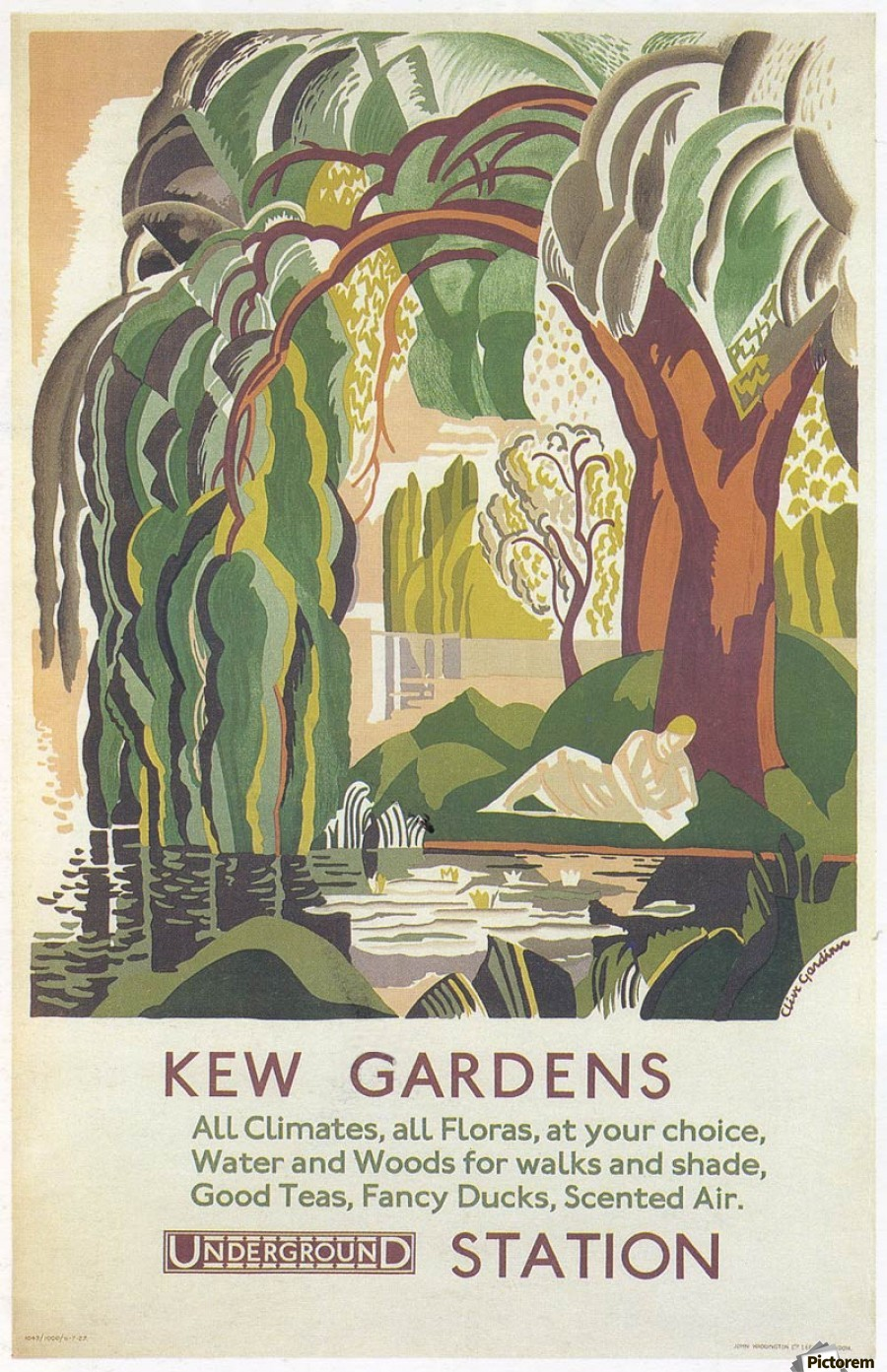 493c5bd4a47 Canvas print. London Underground Kew Gardens poster with Floating Frame