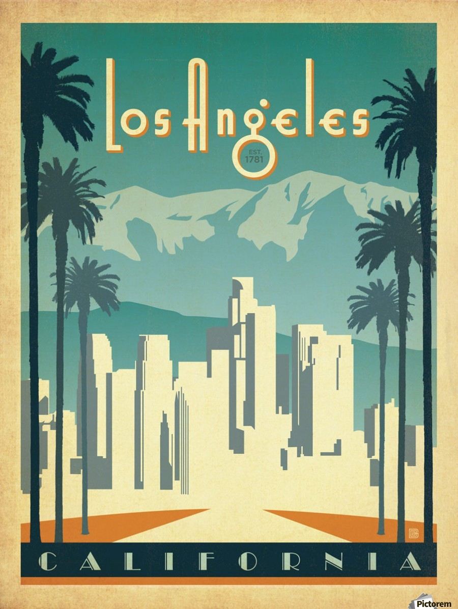 Los angeles california travel poster vintage poster canvas for Poster prints for sale