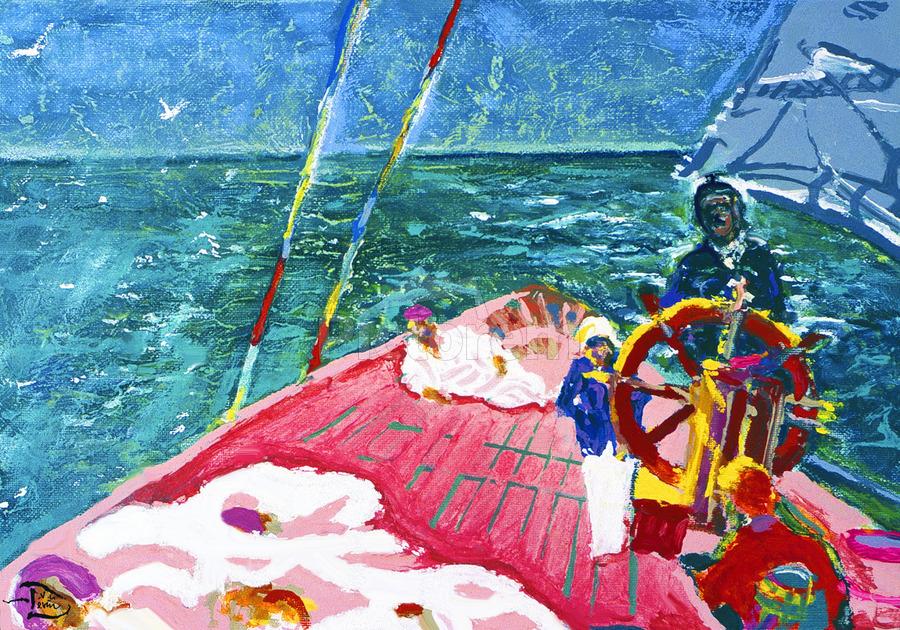 At the Wheel of The Sea Ray  Print