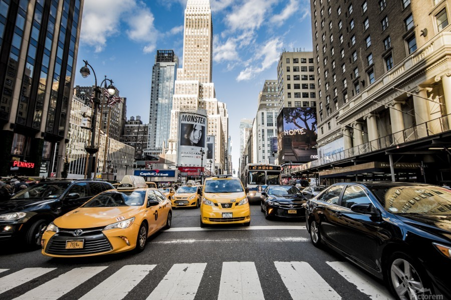New York City Taxi Mayhem   Print