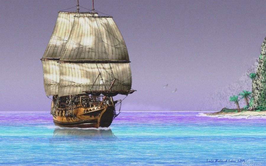 Sailship On A Tropical Island  Print