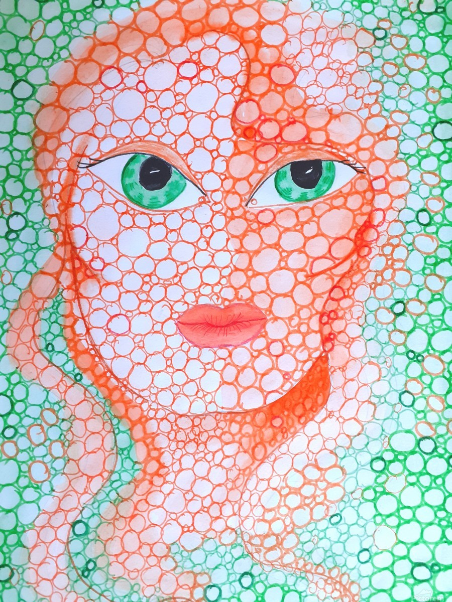 Girl and Circles  Print