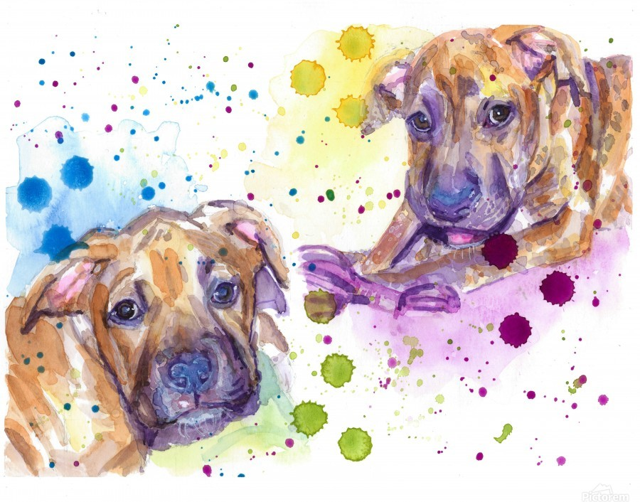 2 Colorful Dogs Brindle - Portrait of Emma and Louis  Print