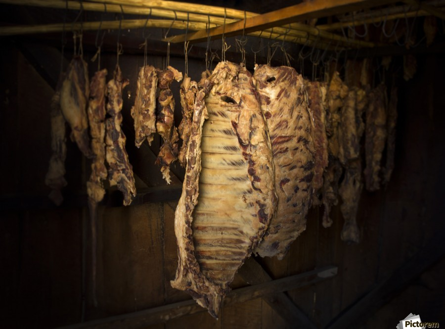 Ready for the season , Marko Radovanovic , meat, smokehouse, hung, hanging, food, eat, proteins, panorama, wooden_walls, closed, space, indoors, inside, smoke, serbia, village, tradition, food_preparation, pork, for_winter, supplies, stocks, dry, drying, metal_wire, natural, studenica,