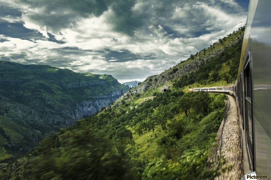 At the entrance , Marko Radovanovic , train, wagon, railway_carriage, locomotion, locomotive, rail, railways, montenegro, windows, in_motion, trough, speed, driving, canyon, clouds, high, mountain, green, moraca, tunnel, nature, stone, rocky, cliff, right_side, dangerous,