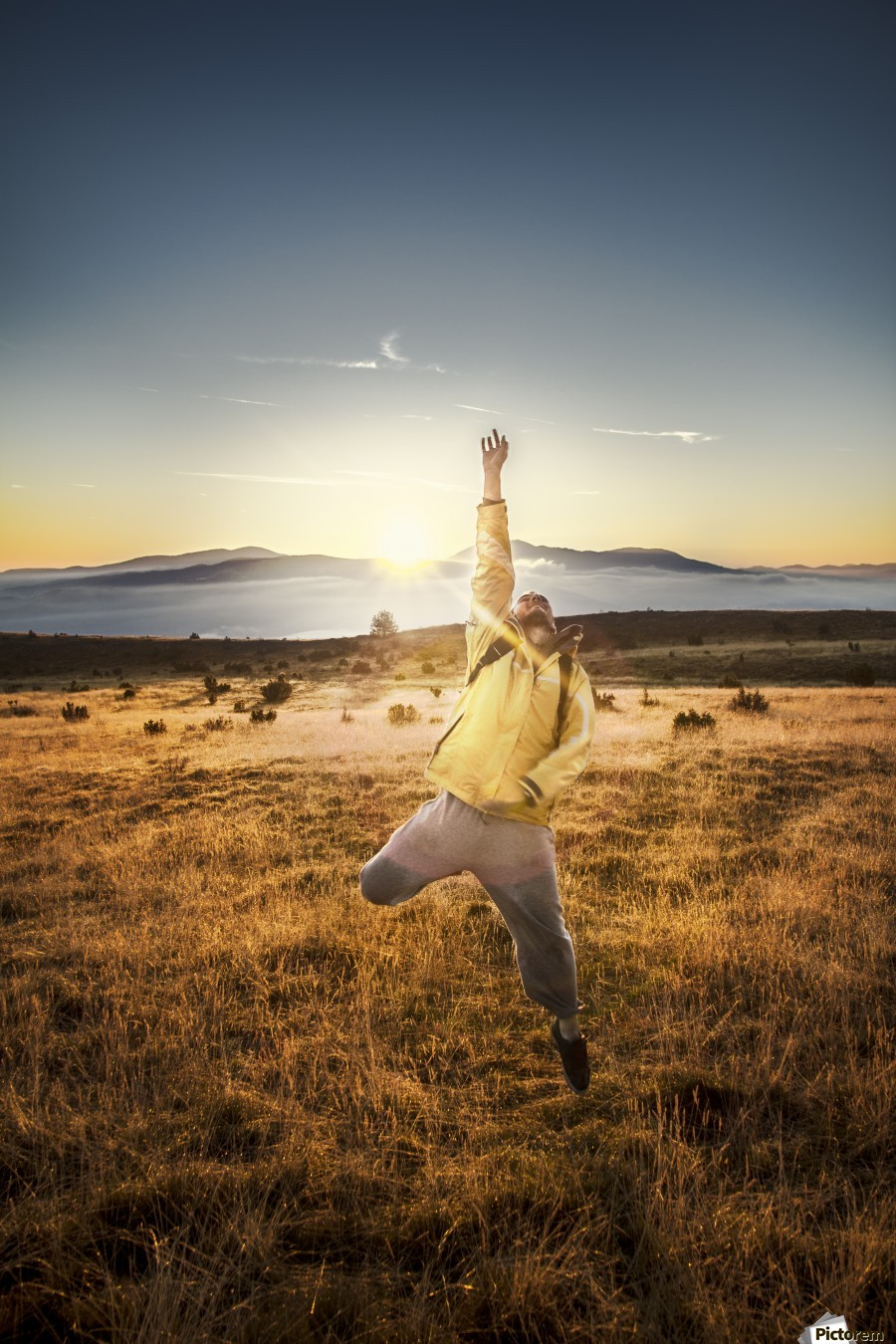 Behind the adventure  , Marko Radovanovic , jump, hiker, sunrise, morning, sun_rays, mountain, landscape, vivid, live, life, in_the_air, jumping, happy, grass, before_sunrise, serbia, landscape, wild, celebrating, yellow,