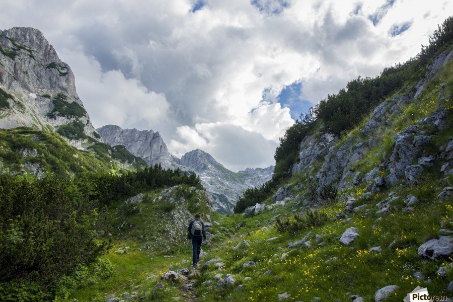 Lonely track , Marko Radovanovic , hikinig, alone, travel, backpacking, tail, track, mountains, durmitor, wild, green, nature, montenegro, summer, far_from_home, stones, rocky, clouds, green, hiker, mountaineering, valley,