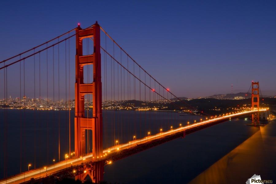 Golden Gate Bridge at Night , Melanie Viola , america, san francisco, usa, golden gate, bridge, downtown, red, harbour, water, waterside, sky, shoreline, shore, scenic, landscape, idyllic, horizon, coast, architecture, city, lake, landmark, sight, sightseeing, urban, california, presido, orange, decorative, illuminated, lighted, lights, reflection, colourful, dark, yellow, silence, illuminated, atmospheric, moody, dusk, evening, mood, night, sunset, headlight, traffic, light, street, vehicle, skyline, movement, golden, gate, suspension, bay