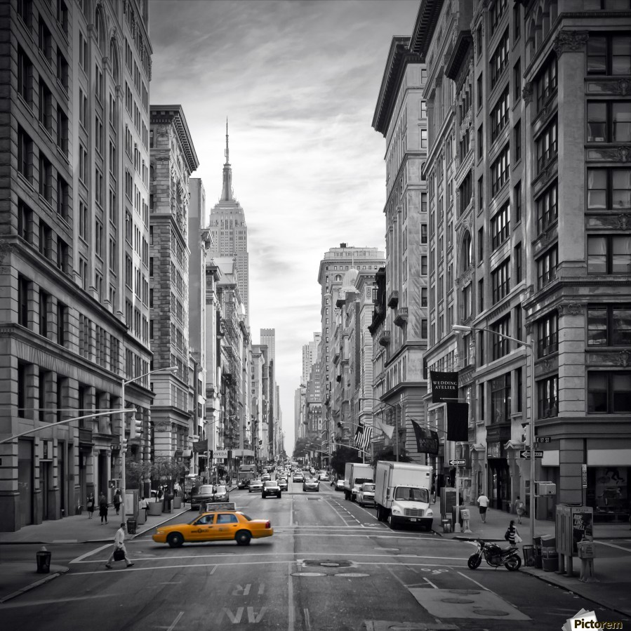 NEW YORK CITY 5th Avenue , Melanie Viola , America, city, megacity, New York, NY, USA, car, Manhattan, 5th, Avenue, urban, skyscraper, architecture, yellow, colourkey, colorkey, black, black-white, modern, art, attraction, famous, landmark, sight, street, traffic, shops, sky, us, pavement, decorative, Street, streetscene, white, canyon, house, shops, vignette, square, NYC, 5th Avenue, New York City,