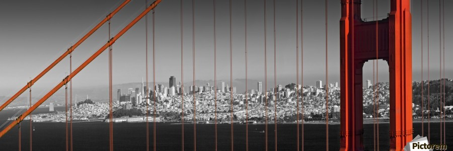Golden Gate Bridge Panoramic Downtown View  Print