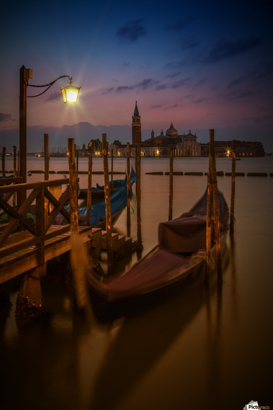 VENICE Gondolas during Blue Hour , Melanie Viola , ancient, architecture, attraction, blue, hour, boat, building, city, dark, dawn, dusk, europe, evening, famous, historic, historical, house, illuminated, italy, lamp, landmark, lighted, lights, line, longtime, megacity, morning, night, old, old town, orange, outdoor, outdoors, popular, reflection, san giorgio maggiore, san marco, shore, shoreline, sight, sightseeing, sky, stream, sunrise, sunset, surface, town, urban, venice, water, waterside, gondola, church, island, grand, canal