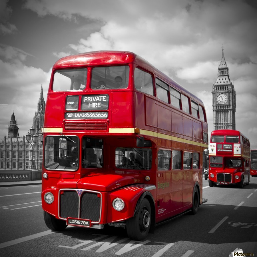 LONDON Red Buses on Westminster Bridge  Print