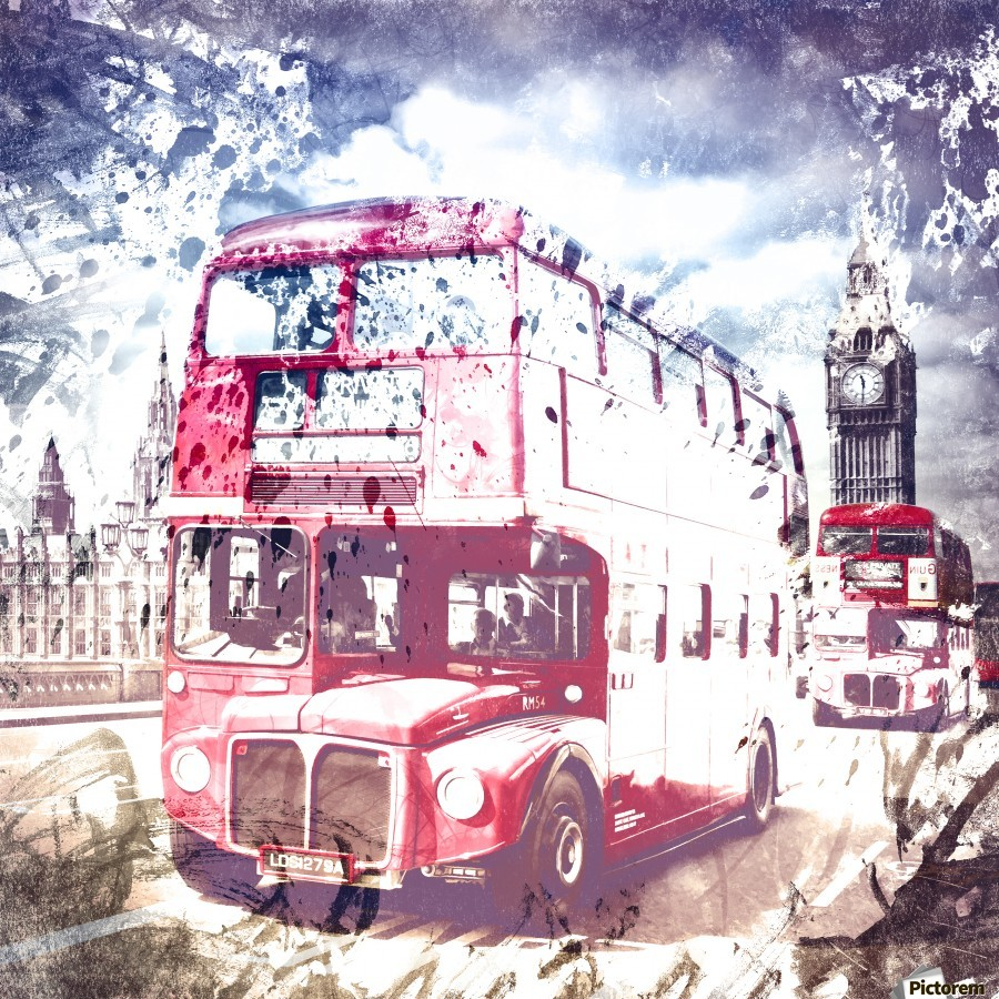 City-Art LONDON Red Buses on Westminster Bridge  Print