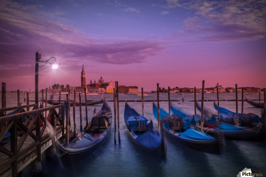 VENICE Gondolas at Sunset  Print