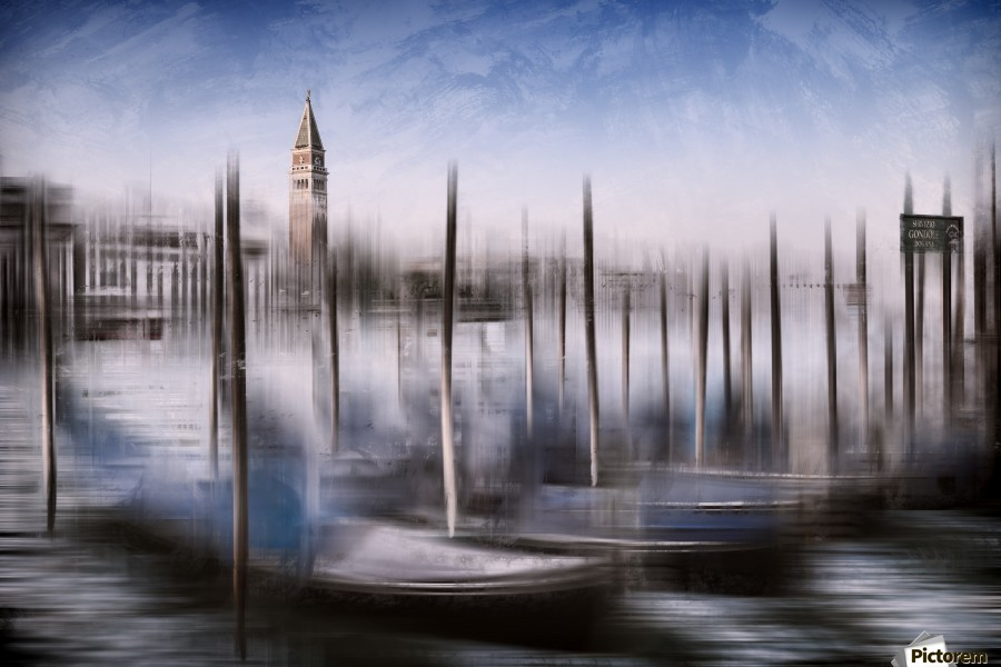 Digital-Art VENICE Grand Canal and St Mark's Campanile  Print