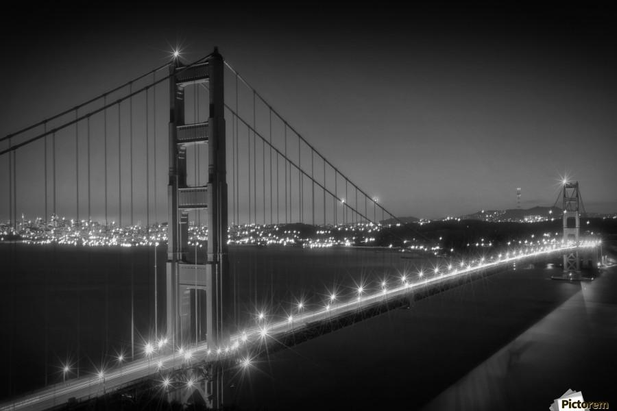 Evening Cityscape Of Golden Gate Bridge Monochrome Melanie Viola Canvas Artwork