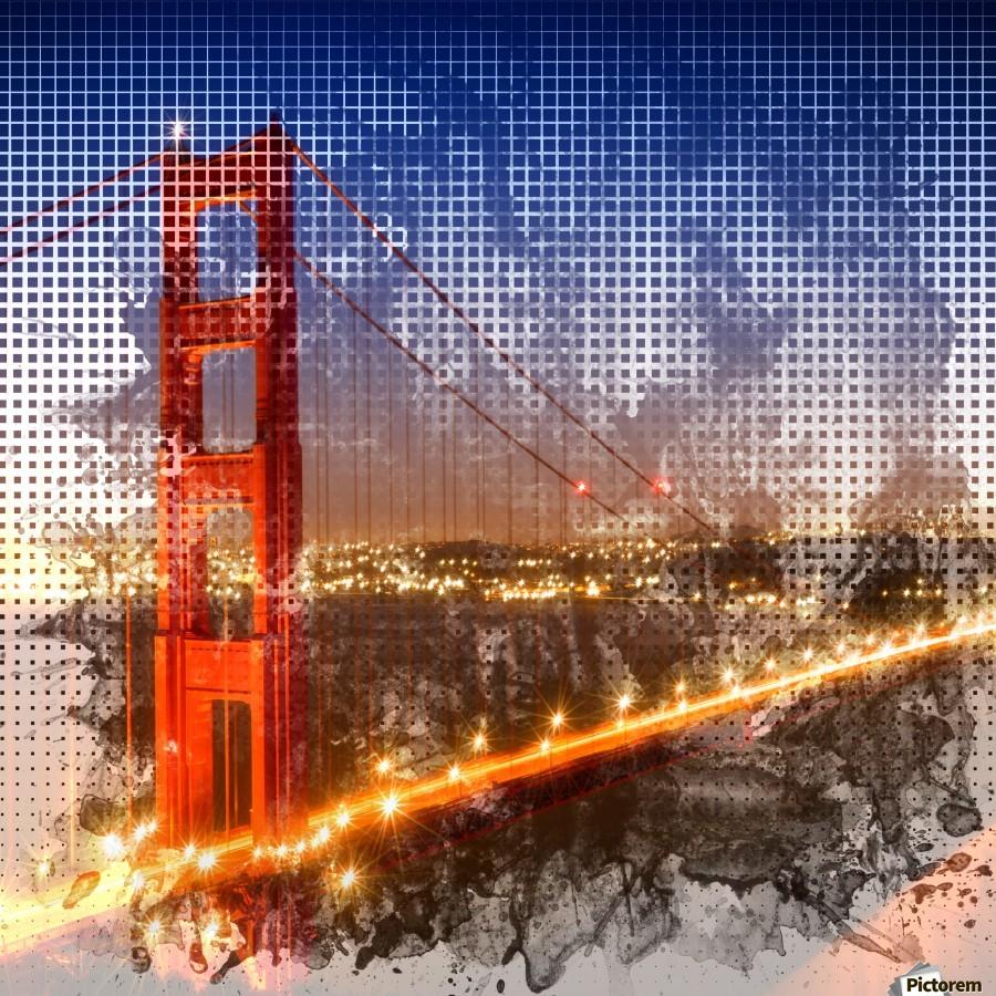 Graphic Art Golden Gate Bridge | watercolour style  Print