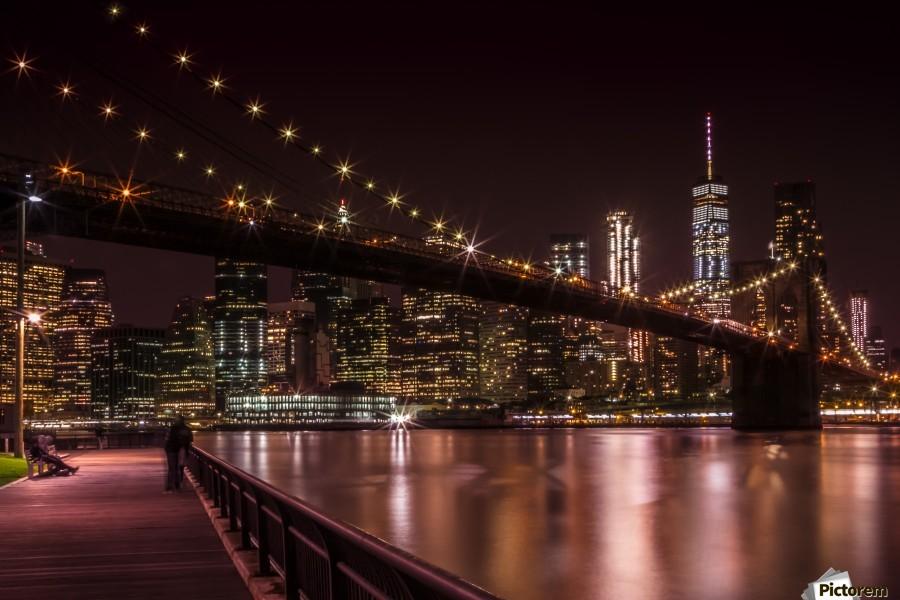MANHATTAN SKYLINE & BROOKLYN BRIDGE Sunset
