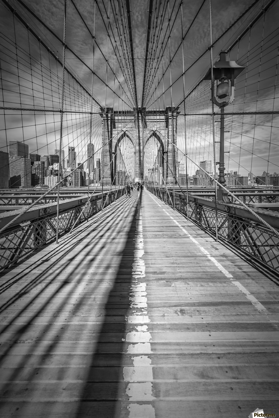 NEW YORK CITY Brooklyn Bridge , Melanie Viola , New York City, New York, America, american, Manhattan, NY, NYC, USA, US, United Staates, megacity, architecture, attraction, famous, landmark, popular, sight, Sightseeing, skyline, skyscraper, downtown, Brooklyn Bridge, bridge, cityscape, urban, upright, vertical, black, white, Vignette, detail, steel cable, classical, black and white,