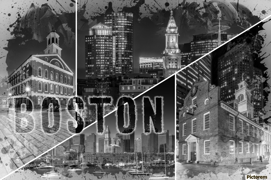 BOSTON Urban Collage No. 1  Print