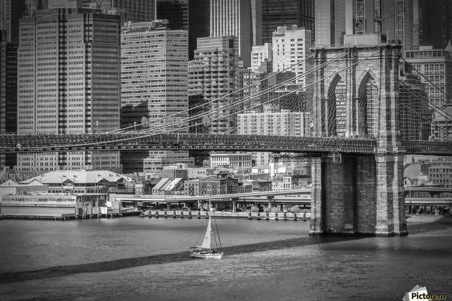 NEW YORK CITY Brooklyn Bridge & Manhattan Skyline  Print