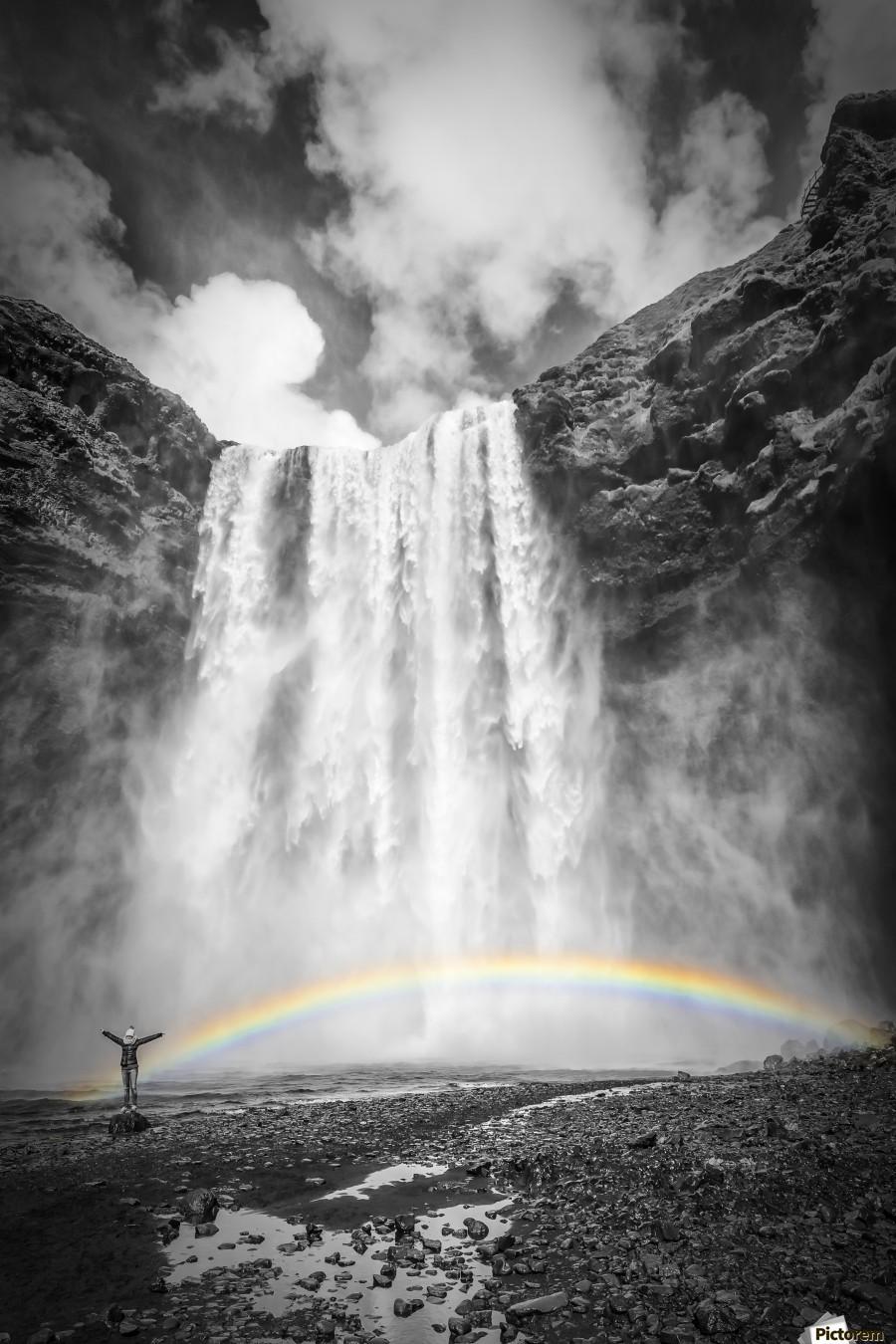 ICELAND Skogafoss , Melanie Viola , Iceland, Skogafoss, Skógafoss, South Iceland, south, Skógar, Skógá, Lýðveldið Ísland, foam, falls, waterfall, idyllic, landscape, nature, decorative, rainbow, Europe, sunny, sunlight, clouds, clear, sky, spring, cliff, double rainbow, people,
