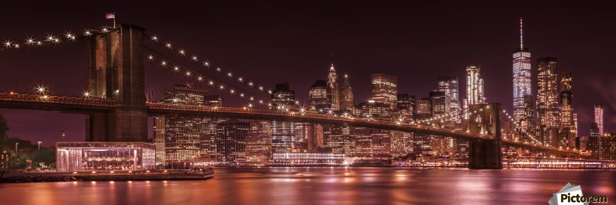 MANHATTAN SKYLINE & BROOKLYN BRIDGE Evening Impressions | Panoramic