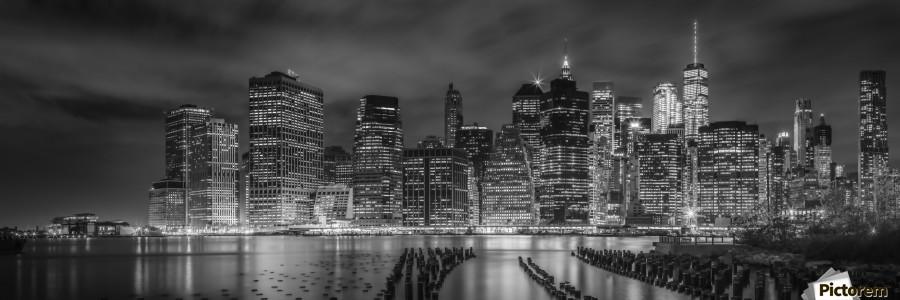 NEW YORK CITY Monochrome Night Impressions | Panoramic View