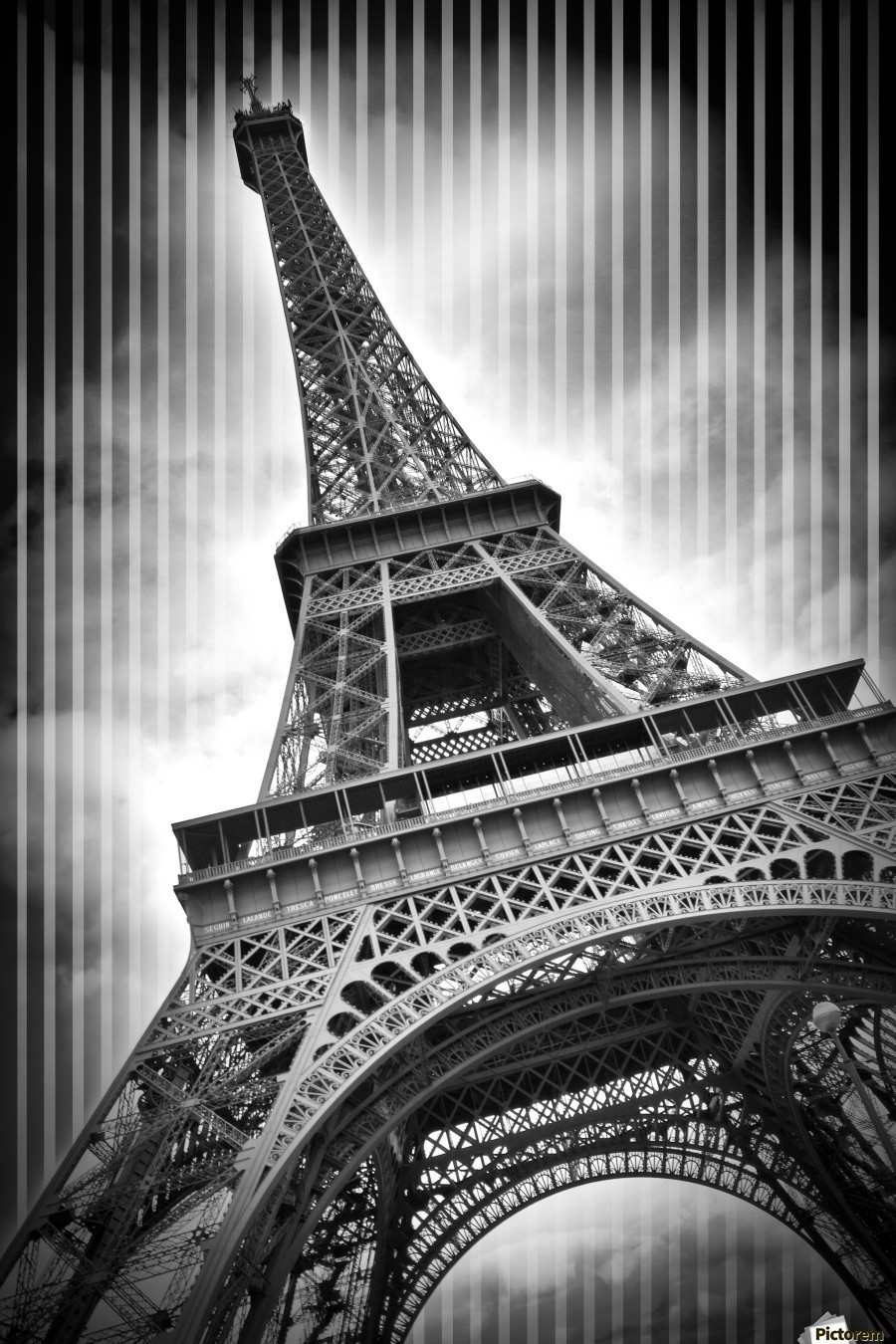 PARIS Eiffel Tower  , Melanie Viola , europe, france, paris, capital, champ de mars, eiffel tower, la tour eiffel, upright, vertical, architecture, building, attraction, city, landmark, sight, urban, famous, television tower, historic, black, white, black and white, monochrome, dynamic, decorative, tilted, classical, typical, abstract, modern, stripes, eiffeltower,