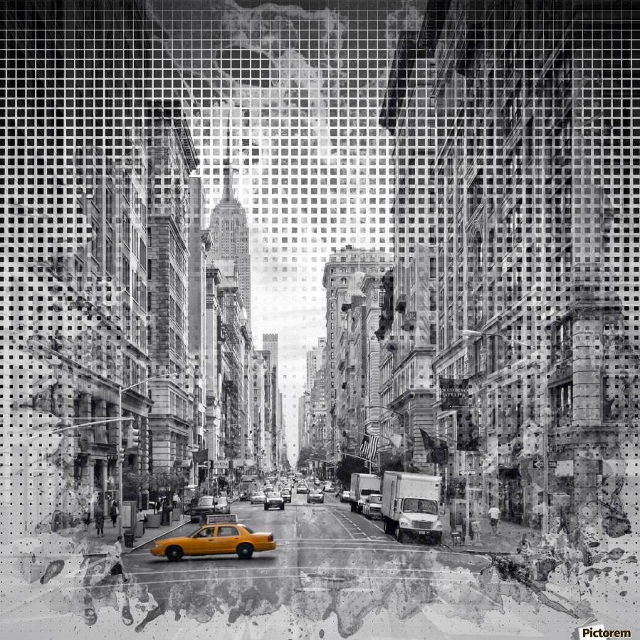 Graphic Art NEW YORK CITY 5th Avenue , Melanie Viola , 5th, 5th Avenue, America, architecture, Avenue, black, building, car, city, colorkey, colourkey, digital art, dynamic, Empire State, experimental, facade, house, Manhattan, megacity, Midtown, modern, New York, New York City, Northamerica, NY, skyline, skyscraper, square, street, Streetscene, town, traffic, United Staates, urban, USA, vehicle, Vignette, yellow, Fifth Avenue, abstract, art, decorative, design, digital, pattern, watercolour, watercolor, grid, graphic, brushstrokes, painting,