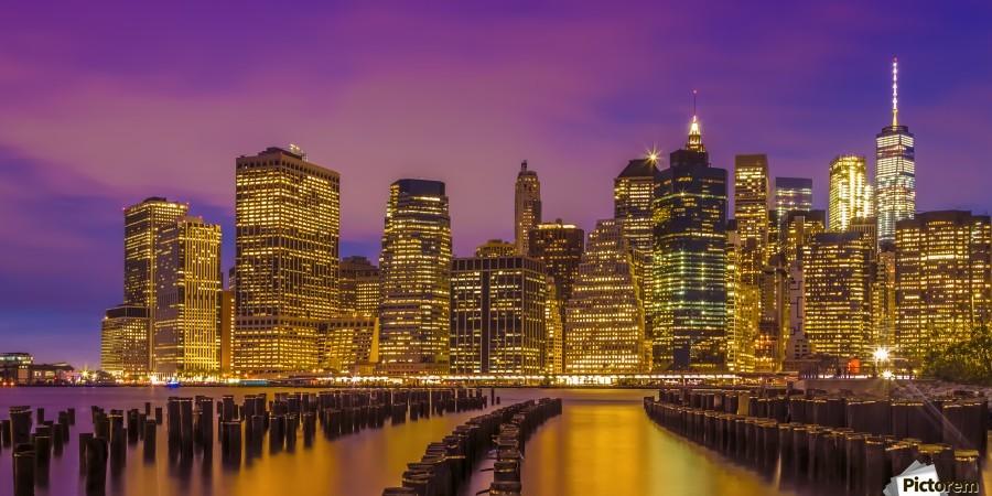 MANHATTAN SKYLINE Bright Sunset | Panoramic