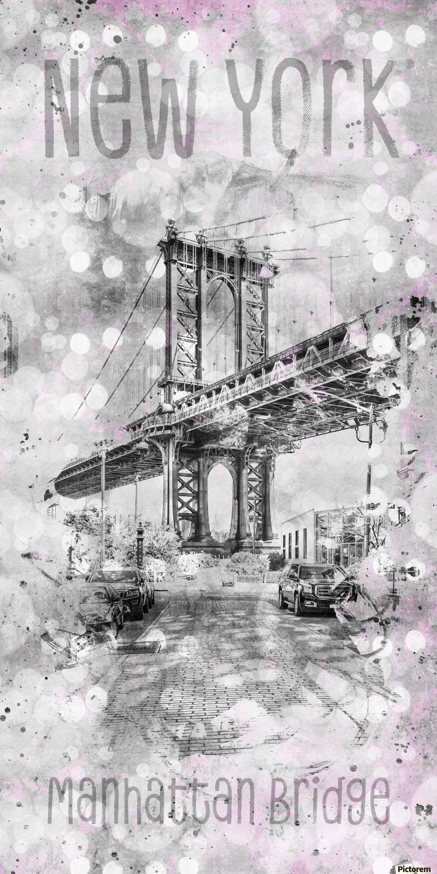 Graphic Art NEW YORK CITY Manhattan Bridge , Melanie Viola , New York City, New York, America, american, Dumbo, Brooklyn, Manhattan, NY, NYC, USA, US, United Staates, architecture, attraction, famous, landmark, popular, sight, Sightseeing, skyline, downtown, cityscape, Manhattan Bridge, bridge, Washington Street, urban, upright, vertical, black, white, panorama, panoramic, narrow, slim, pink, grey,  abstract, art, decorative, design, digital, graphic, graphic art, illustration, Mixed Media, pattern, poster style, trendy, typography, wallart, word, textart, text, splashes, watercolour, watercolor, lifestyle, modern