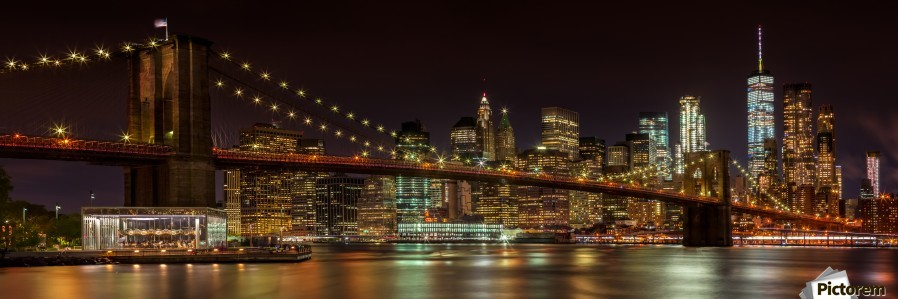 MANHATTAN SKYLINE & BROOKLYN BRIDGE Idyllic Nightscape | Panoramic   Print