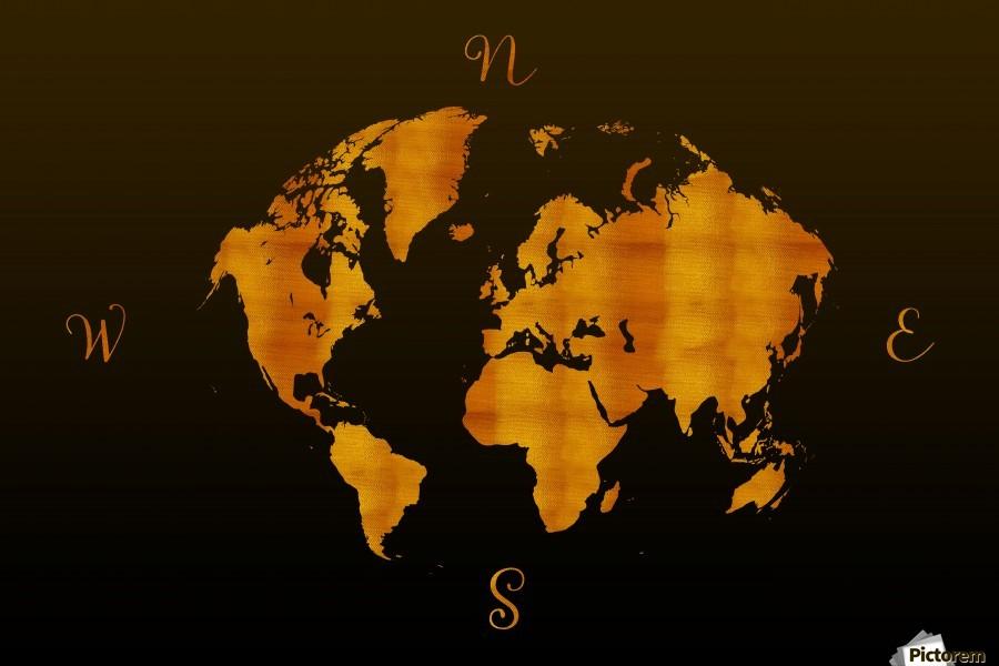 MODERN GRAPHIC ART World Map |  | Redgold  Print
